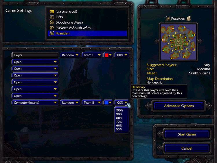 Screenshot de l'extension de Warcraft III (mars 2003)
