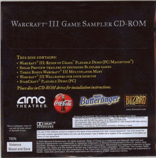 La pochette du CD de démo de Warcraft III vue de dos.