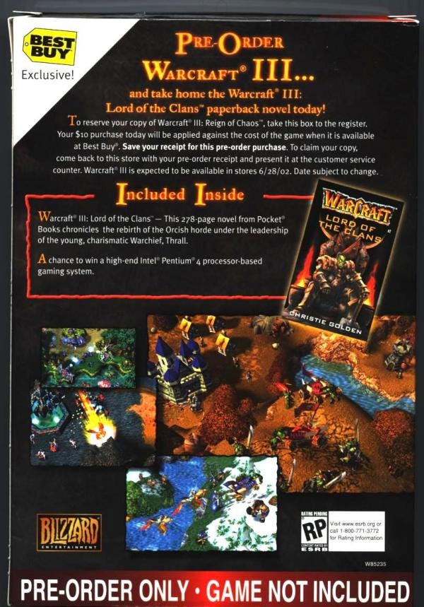 Voici l'arrière de la boîte utilisée pour la pré-commande du jeu dans les boutiques US Best Buy.