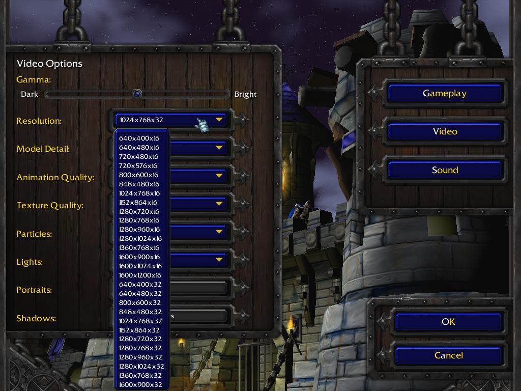 Résolutions disponibles pour Warcraft III