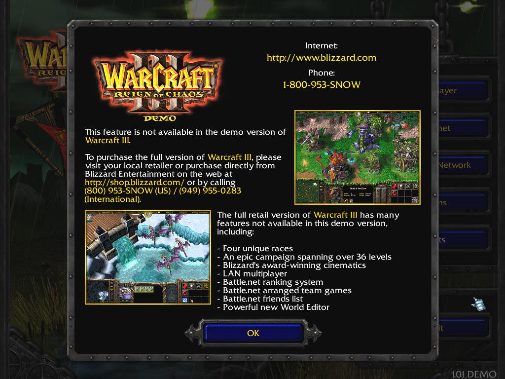 Ecran de promotion du jeu complet (affichée si l'on tente d'accéder à différentes options du jeu)